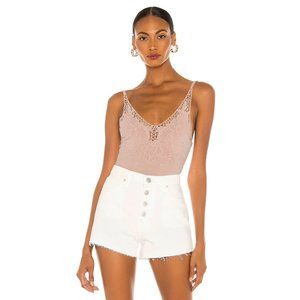 NWT Free People pink embroidered thong bodysuit